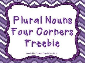 Plural Nouns Four Corners Freebie...the perfect game