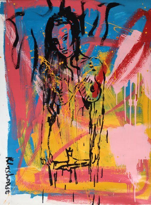 Peter Klashorst - Naked beauty  Acrylverf werk van Peter Klashorst uit 2013. De afmeting van het schilderij is circa 95 x 70 cm. Het doek is reeds voor u opgespannen op een houten frame.De gebruikte techniek is acrylverf op katoen. Let op: Als bewijs van echtheid ontvangt u bij dit originele werk de digitale foto waarop Peter zelf het werk in handen heeft (zie foto 2). Dit is voor u de garantie dat u geen vals werk koopt.  EUR 41.00  Meer informatie