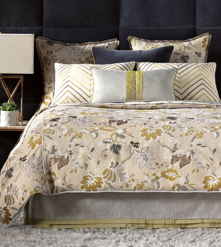 Grey And Yellow-green Palette, Luxury Bedding By Eastern