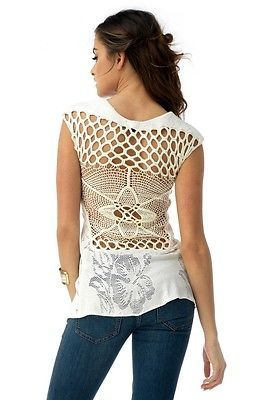 Sky Clothing Brand S Top Ivory Off White Open Back Knit Crochet Lace Spring | eBay
