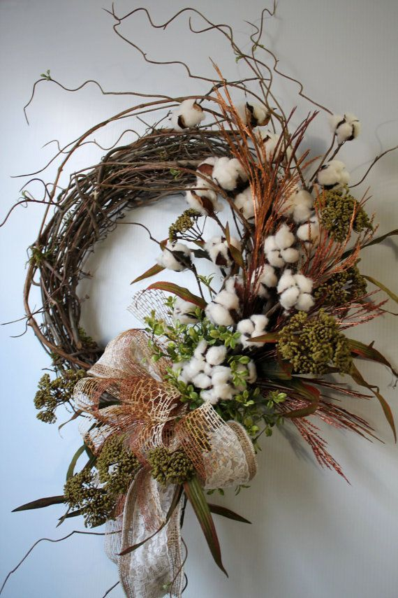 Primitive Cotton Boll Wreath, Raw Cotton Bolls, Country Wreath, Burlap Bow, Fall Wreaths, Everyday Wreaths, Primitive Decor, Country Decor - http://www.homedecoz.com/home-decor/primitive-cotton-boll-wreath-raw-cotton-bolls-country-wreath-burlap-bow-fall-wreaths-everyday-wreaths-primitive-decor-country-decor/