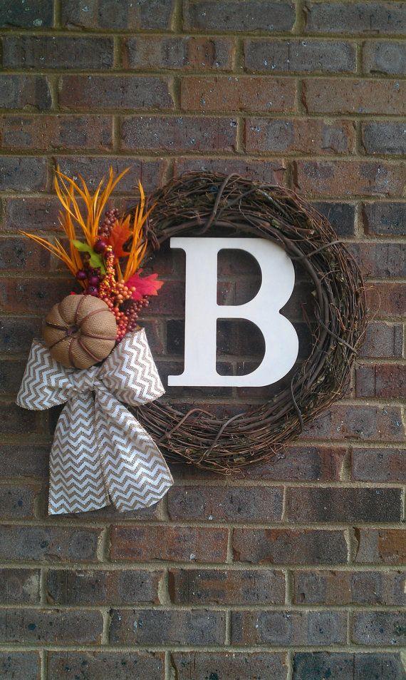Fall Halloween Chevron Wreath with Burlap Pumpkin by simplystunninghome, $48.00