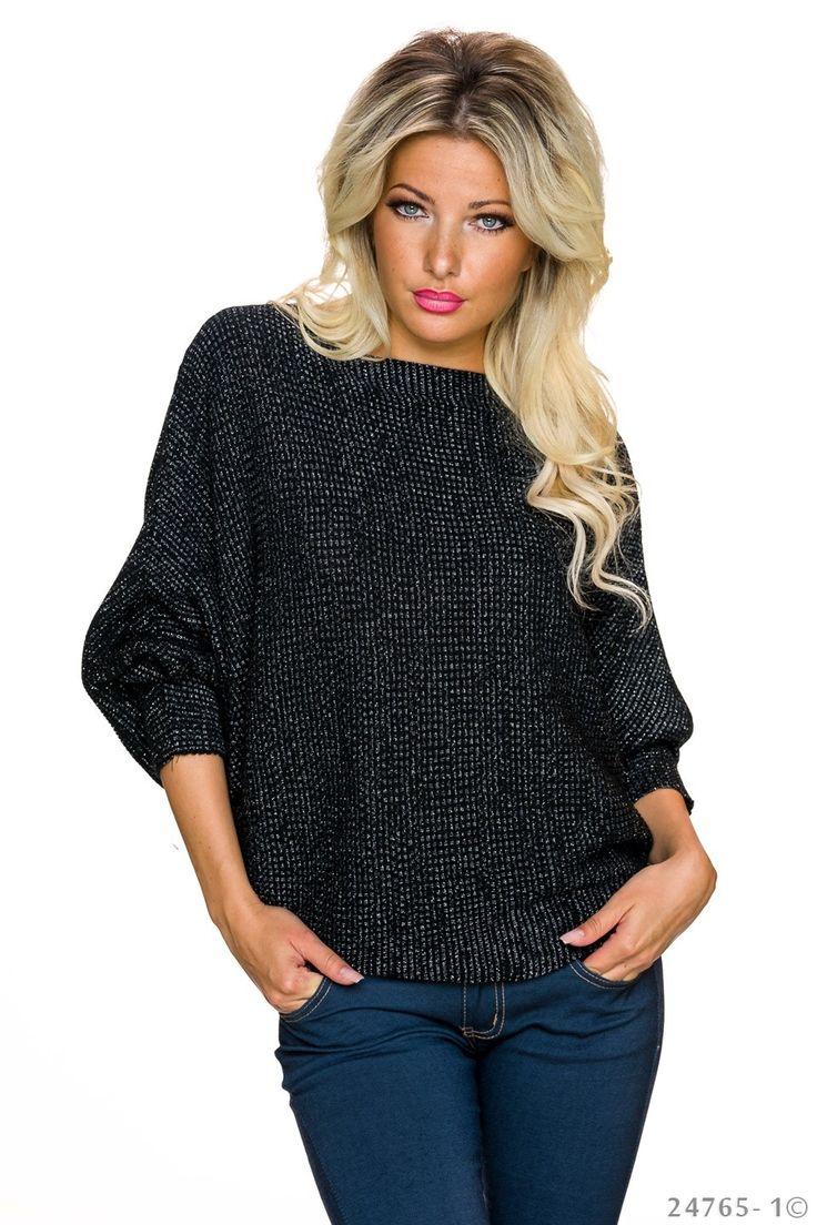 Pulover Only You Black. Pulover tricotat cu fir lame, din material elastic si moale, de grosime medie. Asorteaza-l la blugi si imbraca o tinuta moderna de zi!