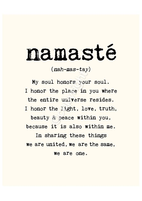 Namaste - 16x20 inches on A2. Inspiring quote typography art poster print.. $57.00, via Etsy.