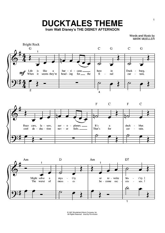 Ducktales theme sheet music www onlinesheetmusic com