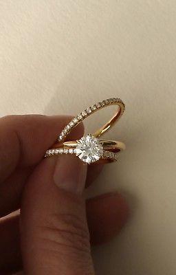 Details über Gelbgold plattiert Solitär Ewigkeit Ehering Ring 925 Sterling Silber Cz
