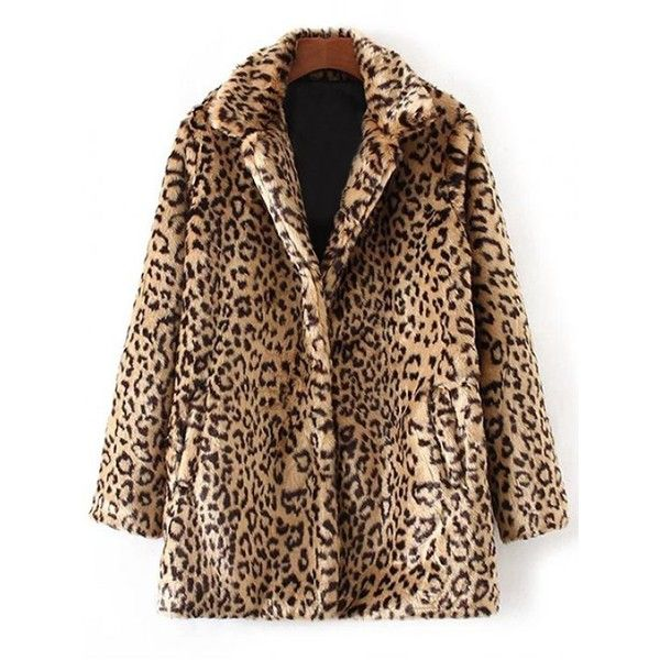 Leopard Faux Fur Coat (62.370 COP) ❤ liked on Polyvore featuring outerwear, coats, brown coat, leopard print faux fur coat, fake fur coat, leopard print coat and brown faux fur coat