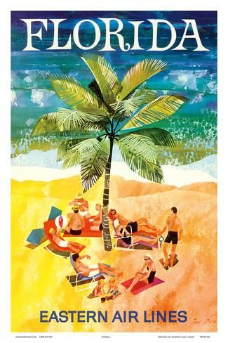 Florida - Eastern Air Lines - Sunbathers around Palm Tree Posters by Jane Oliver at AllPosters.com