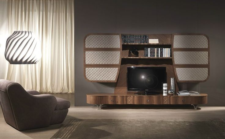 Mueble modular de pared de madera maciza con soporte para tv MISTRAL A by Carpanelli Contemporary diseño carpanelli giuseppe