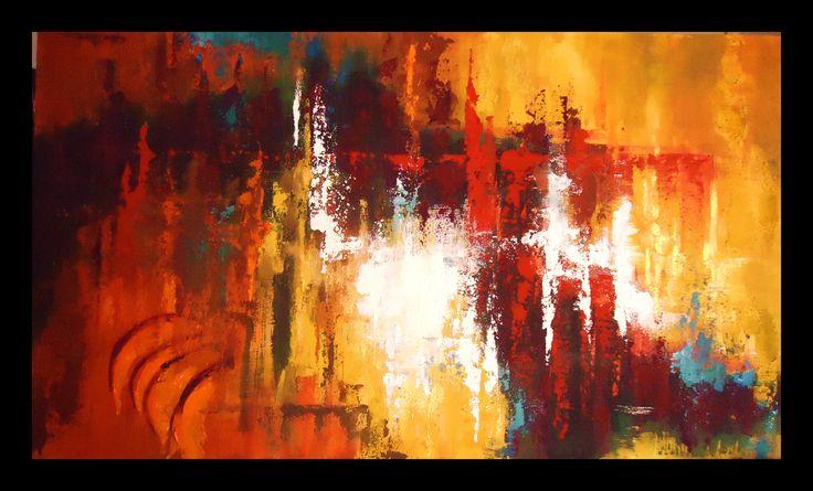 Reflejos pintura abstracta al leo con textura obra de - Cuadros con texturas abstractos ...