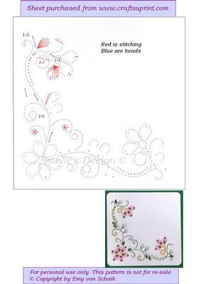 ED105 Flowercorner on Craftsuprint designed by Emy van Schaik - Stitching with beads - Now available for download!