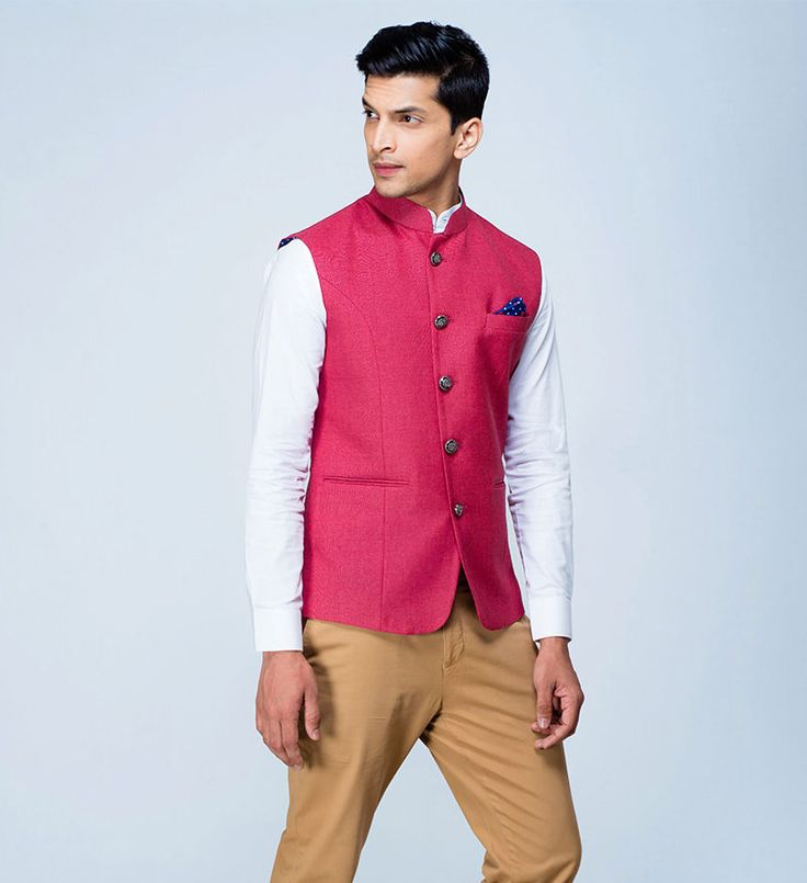 Cranberry Nehru Jacket with ornamental detailing – the perfect buy for your wedding wardrobe, Men