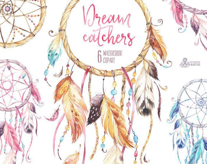 Dreamcatchers. Clipart dell'acquerello. Tribal di OctopusArtis