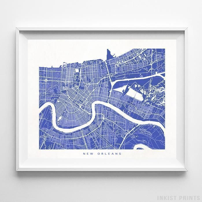 New Orleans Louisiana Street Map Horizontal Print New Orleans