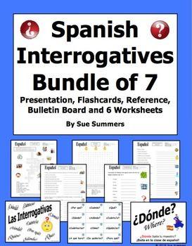 spanish interrogatives bundle of 7 items presentation worksheets and more spanish signs. Black Bedroom Furniture Sets. Home Design Ideas