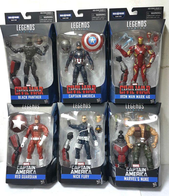 Captain America Civil War Marvel Legends Set of 6 Action Figures BAF #ad