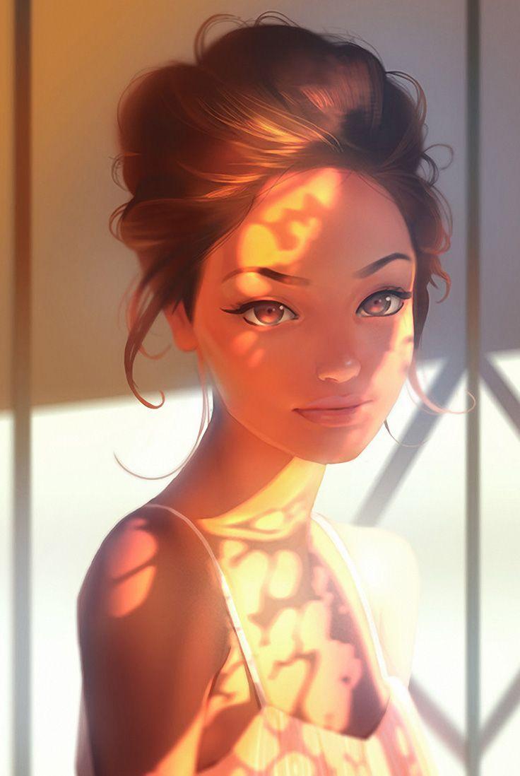 """Sunlight"" - Aleksandr Nikonov, illustrator {figurative art beautiful female head #character woman face cropped digital portrait #loveart} niconoff.deviantart.com"