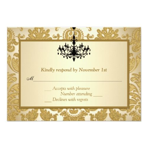 Gold Damask, Chandelier Anniversary Reply Card