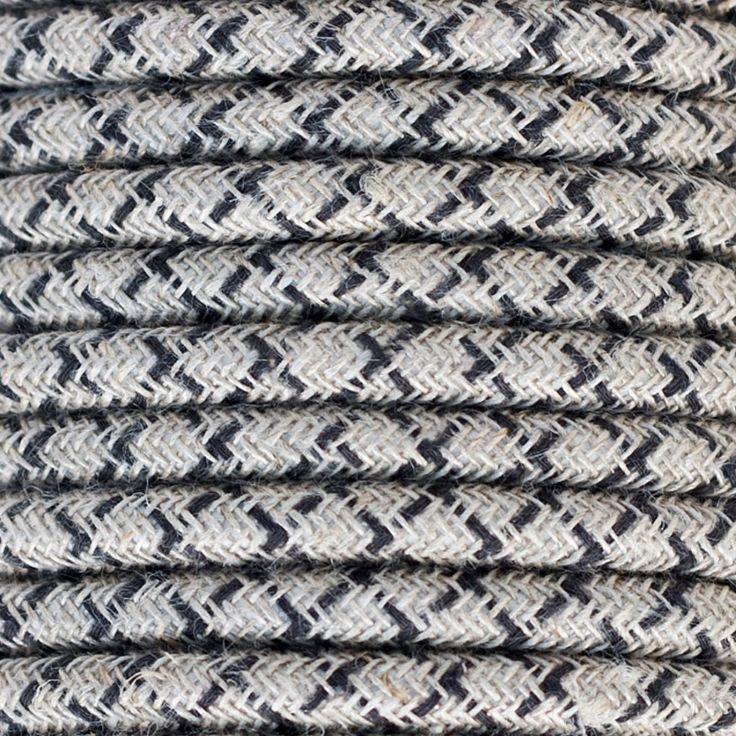 Comprar | Cable textil decorativo rayado lino antracita | Comprar cables textiles eléctricos decorativos de colores  #lamparas #decoracion #iluminacion #accesorioslamparas #cablesdecolores #accesoriosiluminacion