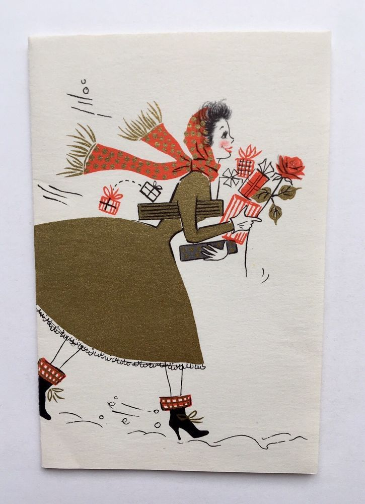 Vintage Hallmark Christmas Card Pretty Lady Girl Gold Dress Boot Present Scarf