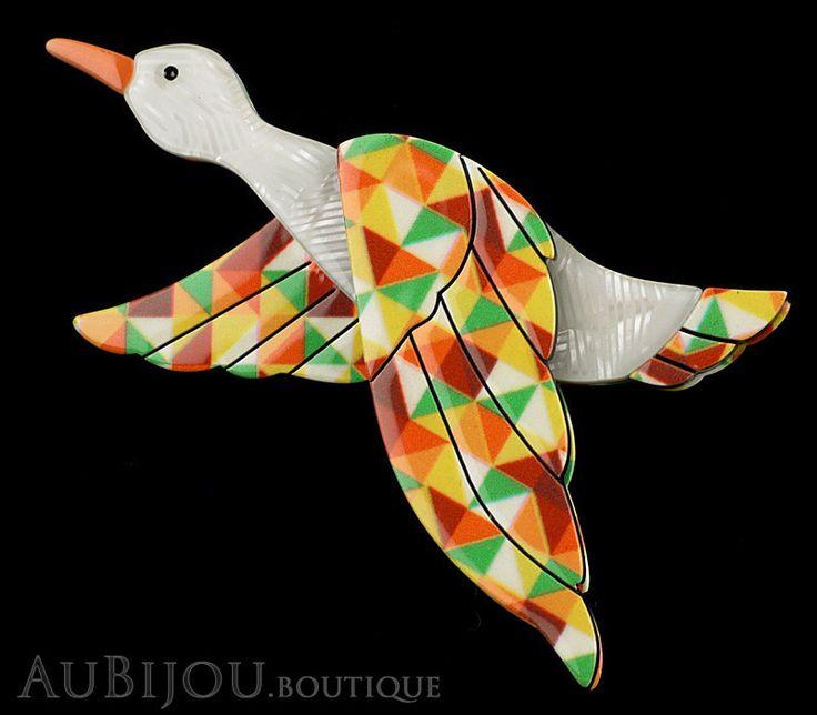 Erstwilder Bird Brooch Pin Dancing Duck Goose Multicolor
