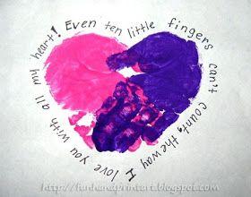 Fun Handprint and Footprint Art : Handprint Heart with a Poem
