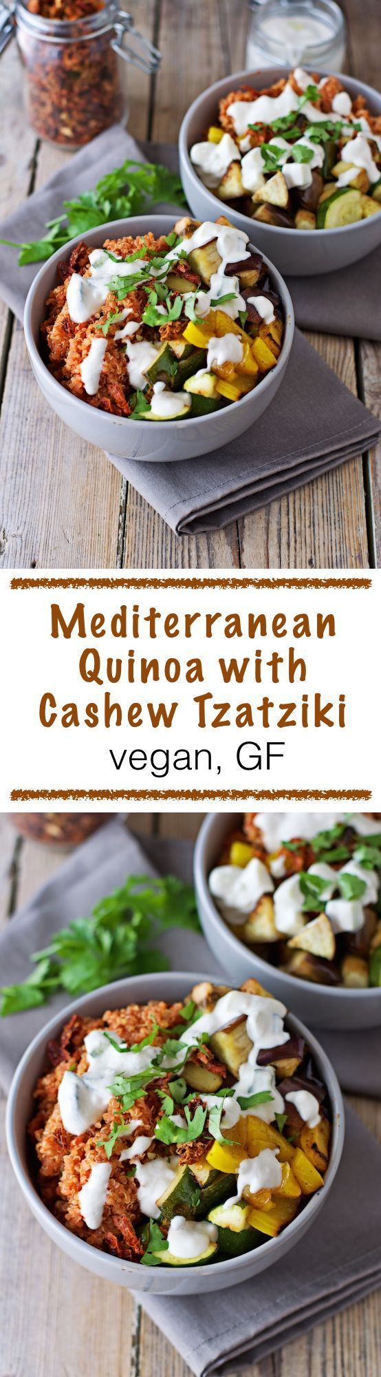 When during a recent extremely hot week I was thinking about a new recipe that would be light and fitting to the sunny weather, I came up with this #vegan and #glutenfree Mediterranean Quinoa with Cashew Tzatziki. It's a perfect #summer dish with freshly-roasted vegetables and a special tomato touch for the quinoa.