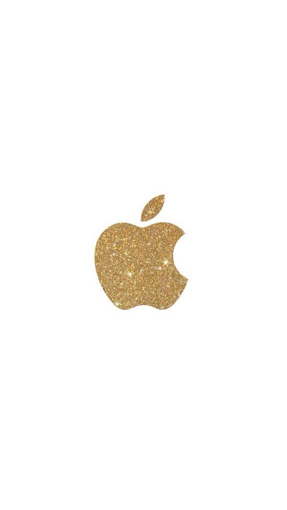 Super cute gold sparkly apple logo.