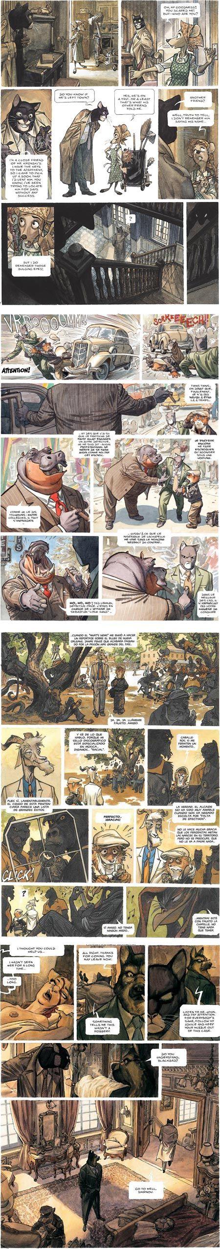 Blacksad (Juanjo Guarnido) -  stunning comic art, wonderfully realized characters, and beautifully rendered backgrounds and settings.