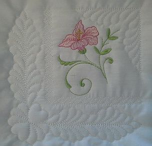 """TS1398 - #Victorian #Lily #Quiltblocks - Large Make a 12"""" x 12"""" quilt block with these corner designs. Just stitch 4 of them using placement to create the large block.  http://www.threadsnscissors.com/quiltblocks/6543-ts1398-victorian-lily-quiltblocks-large #threadsnscissors #embroidery #machineembroidery #crafts"""