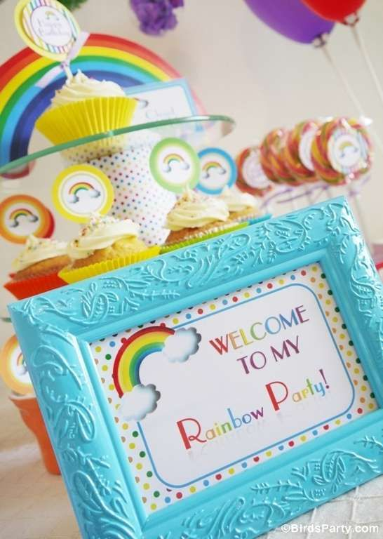 Rainbow birthday party welcome sign! See more party planning ideas at CatchMyParty.com!