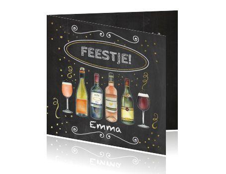 Uitnodiging feestje met afbeeldingen verschillende flessen wijn
