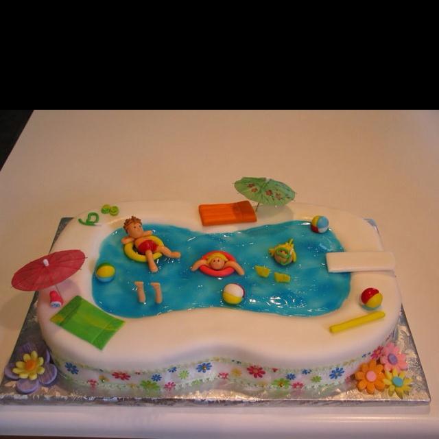 Pool party cake By Jennifer Borchert's Cakes