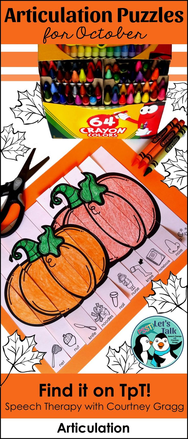 Looking for low prep speech therapy activities for October/Halloween? Try out these print-and-go articulation puzzle strips! Great to send home as speech homework!