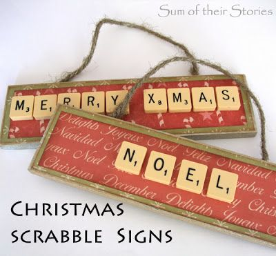 EASY Scrabble Tile Christmas Ornament - I can see how you can make these signs for various occasions throughout the year!