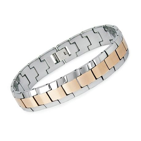 """Golden brown and gunmetal tungsten carbide make this two-tone tungsten bracelet an eye-catcher. Made from 107 grams of polished and satin finished links, this men's tungsten bracelet is no lightweight, yet it has a supple look on the wrist."""" To know more visit -   http://www.justmensrings.com/Mens-Two-Tone-Tungsten-Link-Bracelet--JBR1018_p_823.html"""