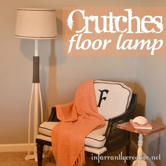 Inspiration from injury! Crutches floor lampDecor, Floor Lamps, Reuse Recycle, Crutches Floors, Crutches Diy, Crafts Ideas, Around The House, The Offices, Floors Lamps