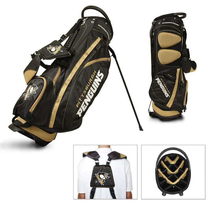 Team Golf Pittsburgh Penguins Fairway Golf Stand Bag. The Fairway Gold Stand Golf Bag is a step up from the Nassau Golf Stand Bag. This bag will be bigger in size so you have the room to upgrade your club set. It will also feature that team that you support and will show your pride in the best way. Along with the bag comes the customer satisfaction you get when you buy from Go Four 2 Sports.  Lightweight, versatile golf bag with stand 14-way full-length dividers Five zippered pockets Two...
