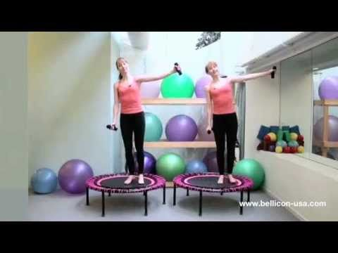 "bellicon balance and coordination workout!  The twins are bouncing on regular bellicon rebounders 44"" with screw in legs and strong bungees. www.bellicon-usa.com"