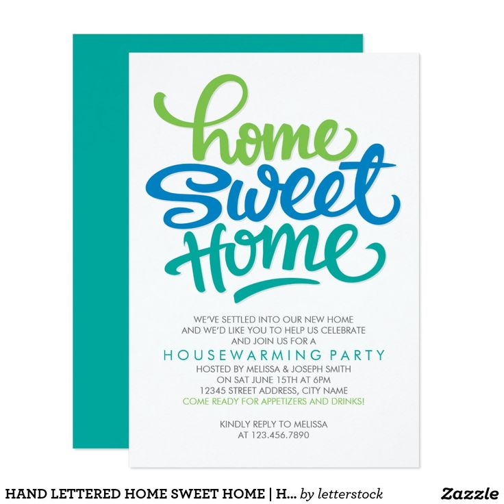 9 best cards invitations customizable images on pinterest back hand lettered home sweet home housewarming party invitation stopboris Image collections