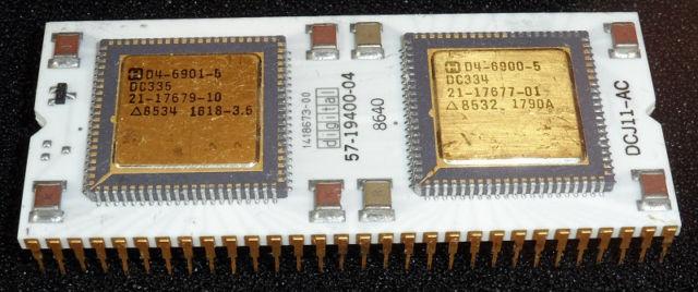 DEC J-11 PDP Processor CPU White Ceramic Gold