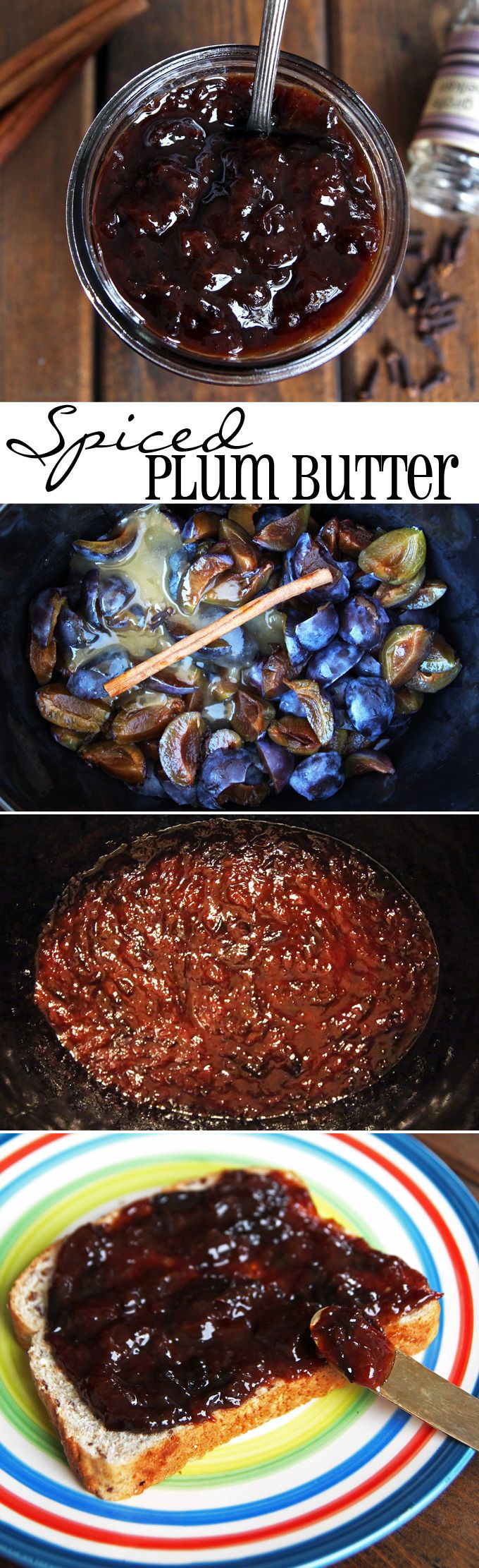 Spiced Plum Butter made in the slow cooker, sweetened with honey only