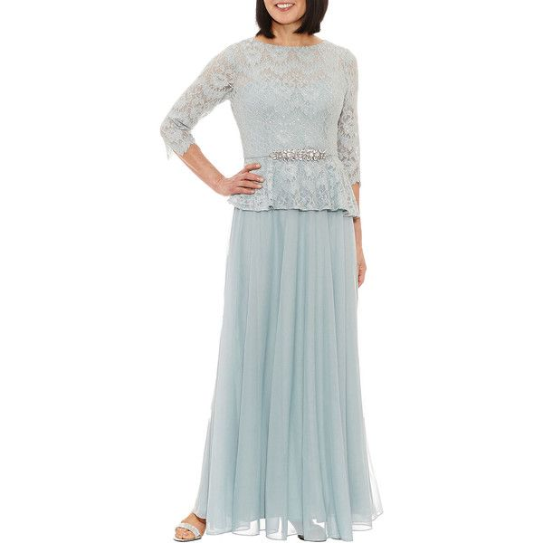 Jackie Jon 3/4 Sleeve Evening Gown found on Polyvore featuring polyvore, women's fashion, clothing, dresses, gowns, 3/4 sleeve evening dresses, 3 4 sleeve gown, three quarter sleeve dress, 3 4 length sleeve dress and 3 4 sleeve evening gown