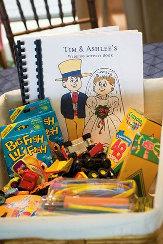 "Don't forget your youngest guests. Create an activity book—print coloring pages on your computer, for example—and place at each child's seat. Personalize the cover with the child's name and your names (""Tim and Ashlee's Wedding"")"