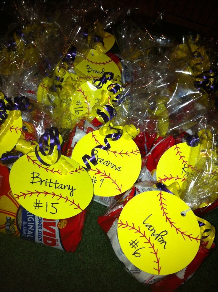 Softball Gifts DIY | Softball treats for the team. Contains gum and packs of sunflower seeds.