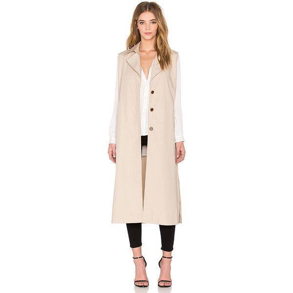 NATIVE STRANGER Sleeveless Detachable Trench Coat (555 CAD) ❤ liked on Polyvore featuring outerwear, coats, coats & jackets, sleeveless trench coat, sleeveless coat, trench coat, pink coat and pink trench coat