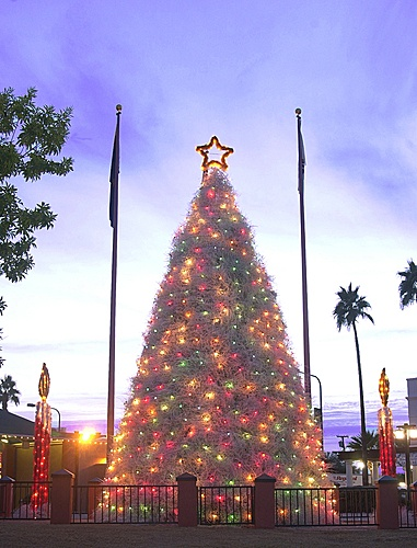 Chandler AZ, tumbleweed christmas tree. When I was young my Dad wold take us the see this every Christmas.... SE