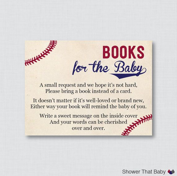 Baseball Baby Shower Printable Bring a Book by ShowerThatBaby