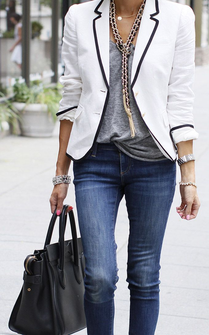 I like the piping on the blazer. Jeans are great too.