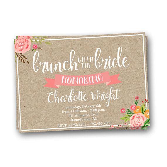Brunch con sposa invito, floreale nuziale doccia invito, invito nuziale Brunch, Brunch invito, invito carta Kraft                                                                                                                                                      More